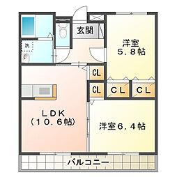 三重県鈴鹿市長太栄町2丁目の賃貸アパートの間取り