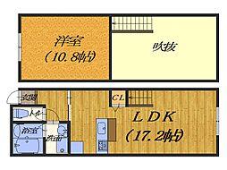 大阪府堺市堺区南三国ヶ丘町2丁の賃貸アパートの間取り