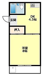 愛知県岡崎市美合町の賃貸アパートの間取り