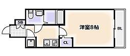 Osaka Metro千日前線 桜川駅 徒歩1分の賃貸マンション 3階1Kの間取り