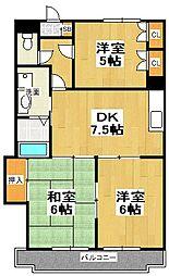 原第10マンション[206号室]の間取り