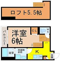 ハーモニーテラス畑江通 2階1Kの間取り