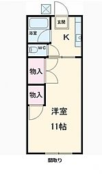 コーポ東中新宿[2階]の間取り