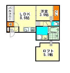 クレスト高畑(クレストタカバタ)[2階]の間取り