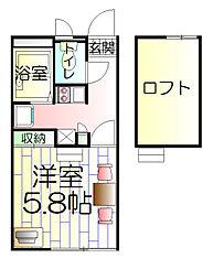 神奈川県川崎市宮前区馬絹の賃貸アパートの間取り