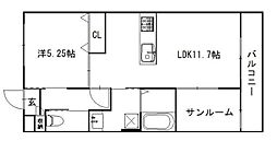 ピース リベルタ kitasako[A202号室]の間取り