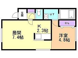 亀田テラス 1階1DKの間取り