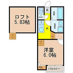Creo高畑弐番館 (クレオタカバタニバンカン)[2階]の間取り