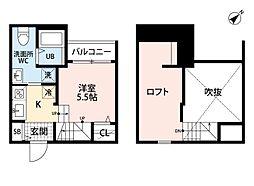 JR鹿児島本線 香椎駅 徒歩12分の賃貸アパート 2階1Kの間取り