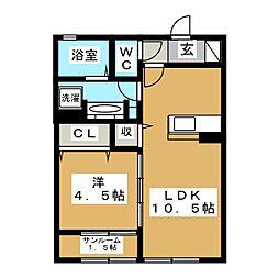 宮城県仙台市青葉区川平2丁目の賃貸アパートの間取り