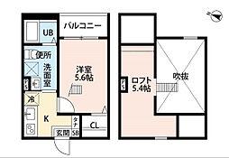 愛知県名古屋市守山区小幡千代田の賃貸アパートの間取り