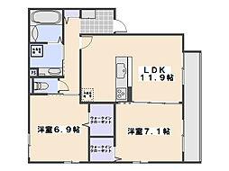 広島県広島市佐伯区坪井1丁目の賃貸アパートの間取り