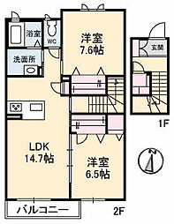 仮)ガーデンズK B棟[211号室]の間取り