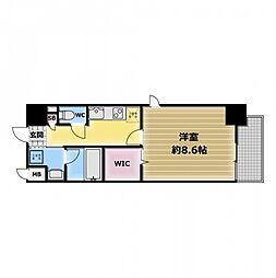 スタシオン俊徳道 9階1Kの間取り