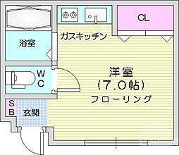 コーポ8443 2階ワンルームの間取り