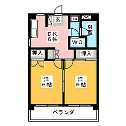 シャトー柳[2階]の間取り