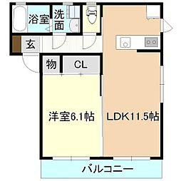 サンモールC[1階]の間取り