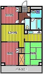 埼玉県さいたま市浦和区常盤8丁目の賃貸マンションの間取り