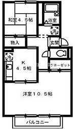 岡山県倉敷市八王寺町の賃貸アパートの間取り