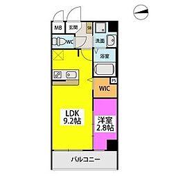 シエル姪浜駅南 2階1LDKの間取り