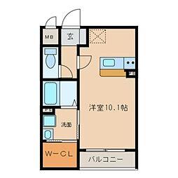愛知県一宮市松降1丁目の賃貸マンションの間取り