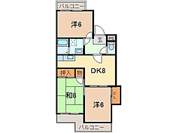 静岡県御殿場市中山の賃貸アパートの間取り
