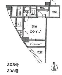 ライオネス富松[203号室]の間取り