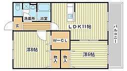 兵庫県姫路市飾磨区中浜町1の賃貸アパートの間取り