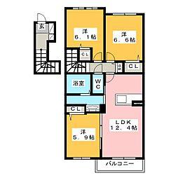 シャーメゾン レブレント[2階]の間取り