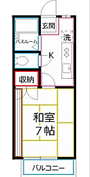 東京都国分寺市富士本3丁目の賃貸アパートの間取り