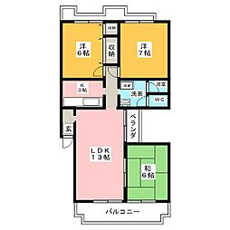 グリーンヒル若田[2階]の間取り