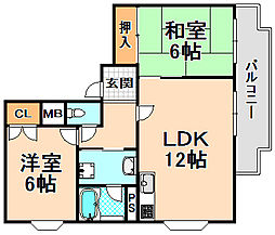 兵庫県伊丹市昆陽1丁目の賃貸マンションの間取り