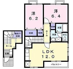 高松琴平電気鉄道琴平線 陶駅 徒歩6分の賃貸アパート 2階2LDKの間取り