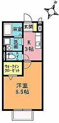 埼玉県桶川市東1丁目の賃貸アパートの間取り