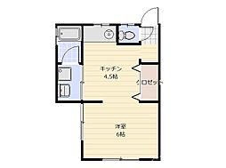 谷岡荘 2階ワンルームの間取り