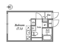 東京メトロ丸ノ内線 四谷三丁目駅 徒歩3分の賃貸マンション 2階ワンルームの間取り