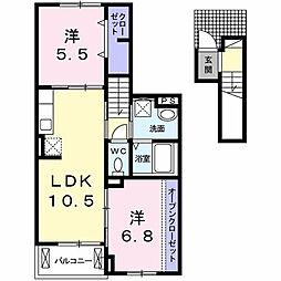 愛知県名古屋市昭和区南分町4丁目の賃貸アパートの間取り