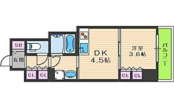エル・セレーノ大阪天神橋 5階1DKの間取り