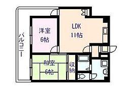 ラフィーネ北澤[2階]の間取り