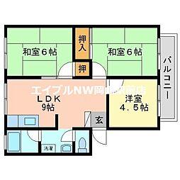 岡山県岡山市北区西花尻の賃貸アパートの間取り