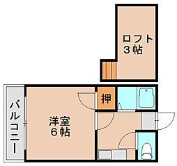 エスピエル原田[2階]の間取り