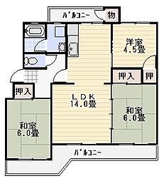 湘南長沢グリーンハイツ7-3号棟[402号室]の間取り