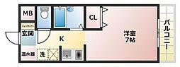 カーサローズヒル 4階1Kの間取り