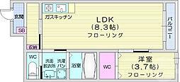 仙台市営南北線 河原町駅 徒歩6分の賃貸アパート 1階1LDKの間取り