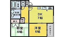 アドザックス三国 1階2DKの間取り