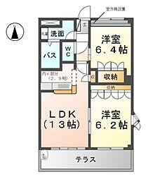 愛知県北名古屋市山之腰五条の賃貸マンションの間取り
