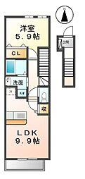 愛知県清須市西田中白山の賃貸アパートの間取り