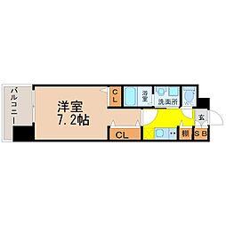 パルティール黒川アネックス 2階1Kの間取り