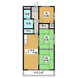 丸二サンハイツ[4階]の間取り