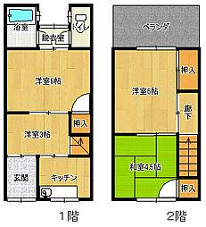 [テラスハウス] 大阪府大阪市平野区喜連3丁目 の賃貸【/】の間取り